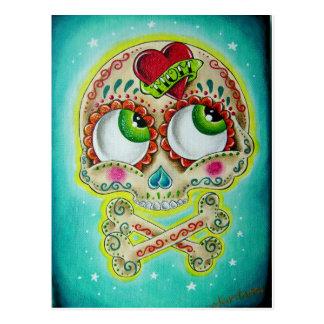 Cráneo tatuado tarjetas postales