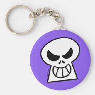 Cráneo travieso de Halloween Llavero Redondo Tipo Pin
