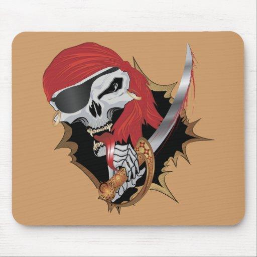 Cráneo travieso del pirata tapete de ratones