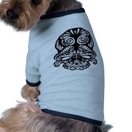 Cráneo tribal 355 camiseta con mangas para perro