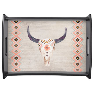 Cráneo tribal al sudoeste del buey bandeja