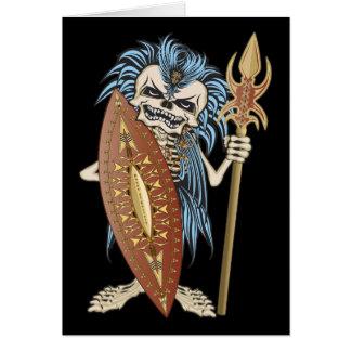 Cráneo tribal del guerrero tarjeta de felicitación