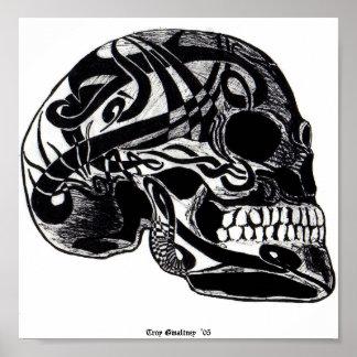 Cráneo tribal (tatuajes) póster