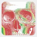 Cráneo tricolor de Rasta Calcomanía Cuadrada