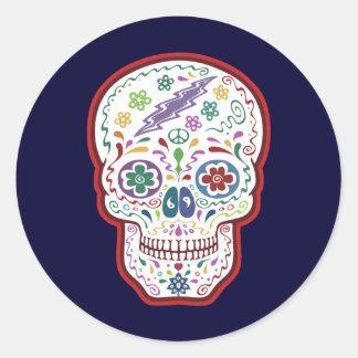 Cráneo Trippy del azúcar Pegatina Redonda