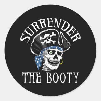 Cráneo tuerto y bandera pirata del pirata pegatina redonda