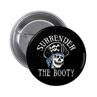 Cráneo tuerto y bandera pirata del pirata pin redondo de 2 pulgadas