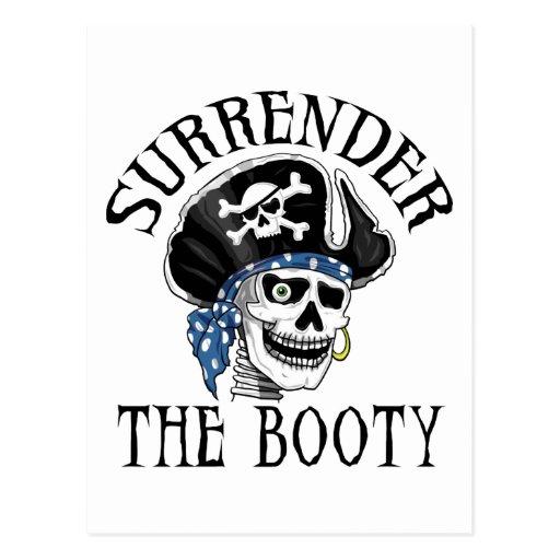 Cráneo tuerto y bandera pirata del pirata postal