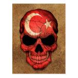 Cráneo turco envejecido y llevado de la bandera tarjetas postales