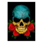 Cráneo ucraniano de la bandera con los rosas rojos tarjetas de negocios