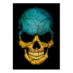 Cráneo ucraniano de la bandera en negro plantilla de tarjeta de negocio