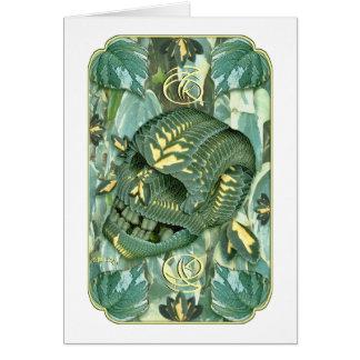 cráneo verde 67K Tarjeta De Felicitación