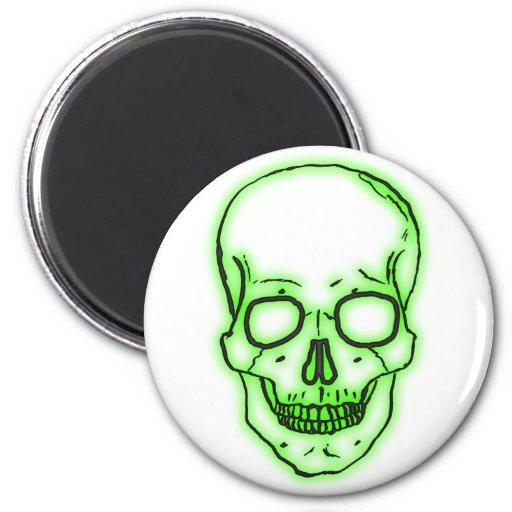 cráneo verde calavera green skull imán redondo 5 cm