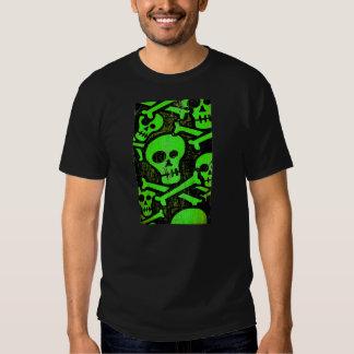 Cráneo verde - cráneo divertido - camiseta playera