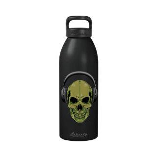 cráneo verde de 32 onzas con los auriculares botella de agua