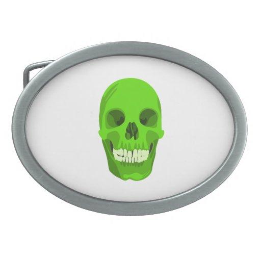 Cráneo verde de Halloween Hebilla Cinturón Oval