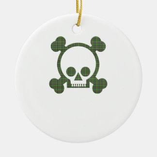 Cráneo verde de la tela escocesa adornos