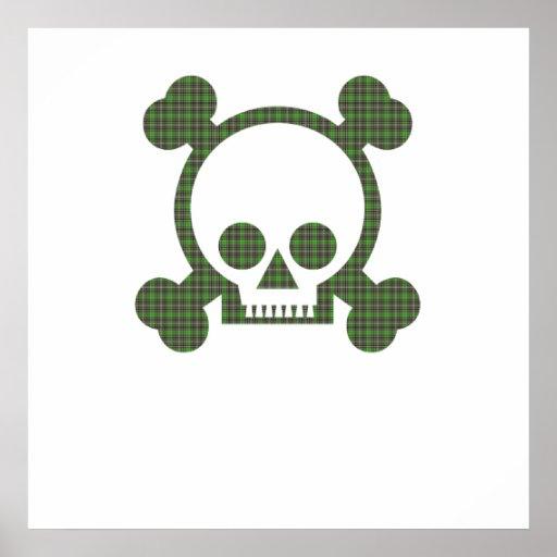 Cráneo verde de la tela escocesa póster