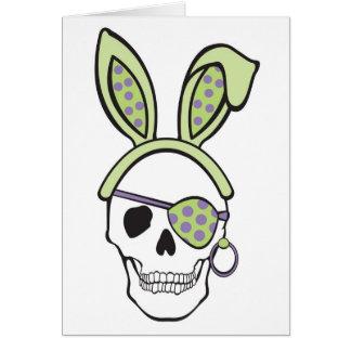 Cráneo verde de Pascua Tarjeta De Felicitación