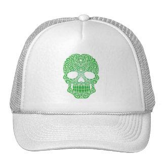 Cráneo verde del azúcar que remolina gorro