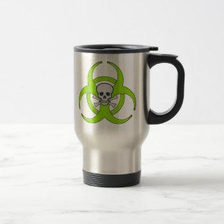 Cráneo verde del Biohazard Taza De Viaje De Acero Inoxidable