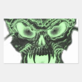 Cráneo verde del vampiro pegatina rectangular