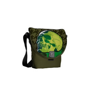 Cráneo verde del vintage bolsa messenger