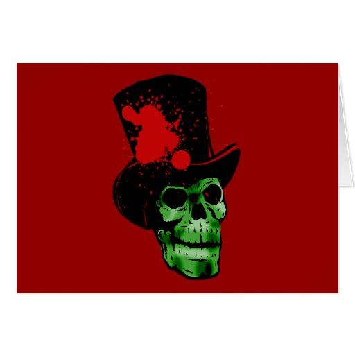 Cráneo verde fantasmagórico con el sombrero de cop felicitacion