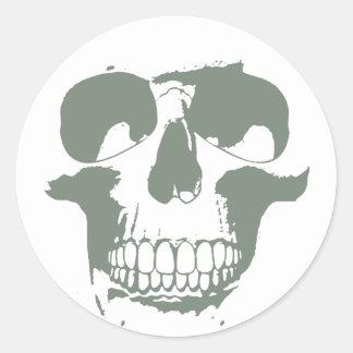 Cráneo verde pegatina redonda