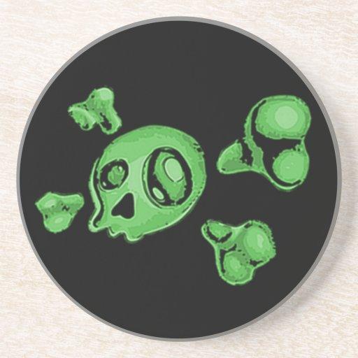Cráneo verde posavasos personalizados