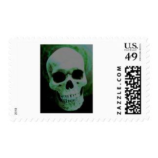 Cráneo verde sellos postales