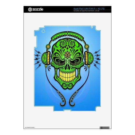 Cráneo, verde y azul del azúcar de DJ iPad 3 Skins