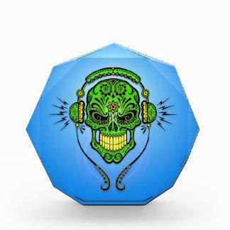 Cráneo, verde y azul del azúcar de DJ