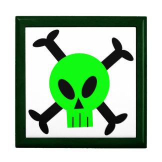 Cráneo verde y bandera pirata Giftbox Caja De Joyas