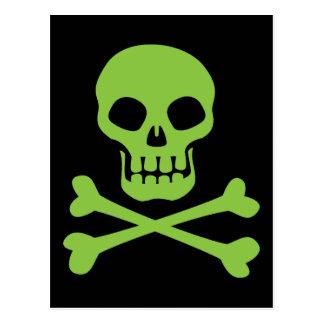 Cráneo verde y bandera pirata tarjetas postales