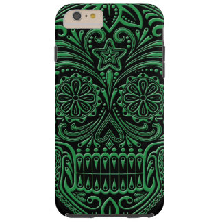 Cráneo verde y negro complejo del azúcar funda de iPhone 6 plus tough
