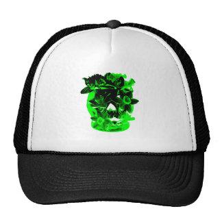 Cráneo verde y negro de la flor del narciso gorro de camionero