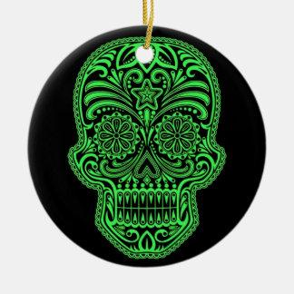 Cráneo verde y negro decorativo del azúcar ornamentos de navidad