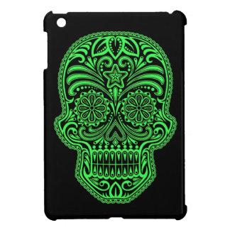 Cráneo verde y negro decorativo del azúcar iPad mini carcasas