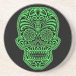 Cráneo verde y negro decorativo del azúcar posavasos cerveza