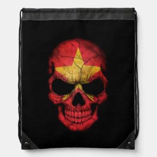 Cráneo vietnamita de la bandera en negro mochilas