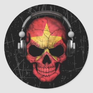 Cráneo vietnamita rasguñado de DJ con los Pegatina Redonda