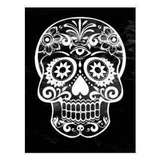 Cráneo, white04 negro tarjeta postal