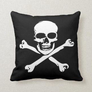Cráneo y almohada de la bandera pirata