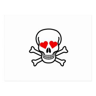Cráneo y amor de la bandera pirata tarjetas postales