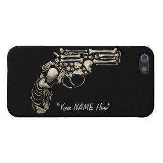 """Cráneo y arma """"EDIT de los huesos YO"""" caso del iPh iPhone 5 Funda"""