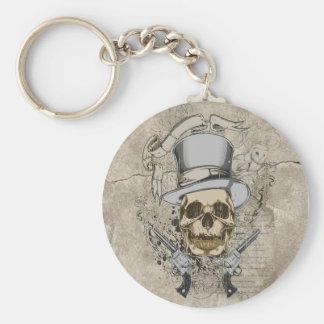 Cráneo y armas pasados de la palabra llavero redondo tipo pin