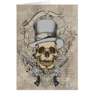 Cráneo y armas pasados de la palabra felicitacion