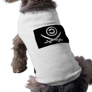 Cráneo y bandera de Anti-Copyright Copyleft de la Playera Sin Mangas Para Perro
