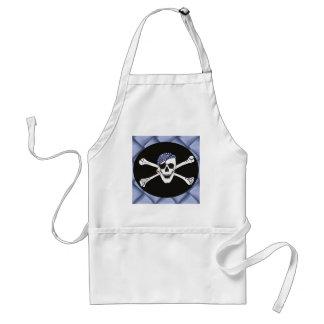Cráneo y bandera de pirata cruzada de los huesos delantal